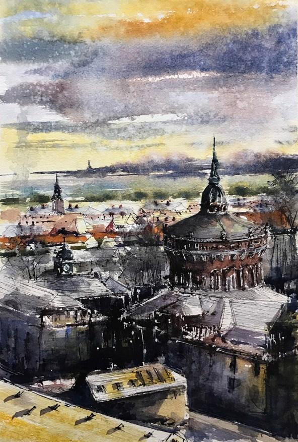 Kiel Ravensberg Watercolor By Al Kline - Doodlewash