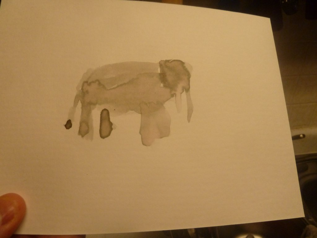 Spent all of yesterday sick. Here is my attempt at an elephant. I had some marbles as well, but the