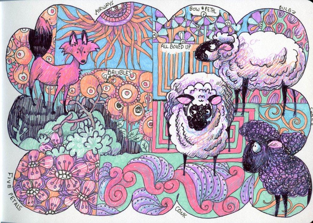 Animals Pattern Sheep Fox by Sandra Strait