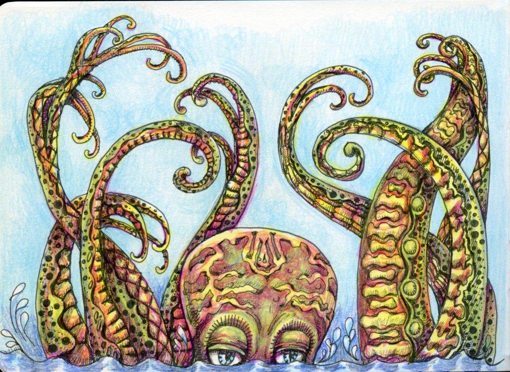 Tangle Art Octopus by Sandra Strait