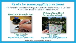 Put down your phone, pick up a pen or a brush! Join me for #creative workshops at Two Hands Paperie