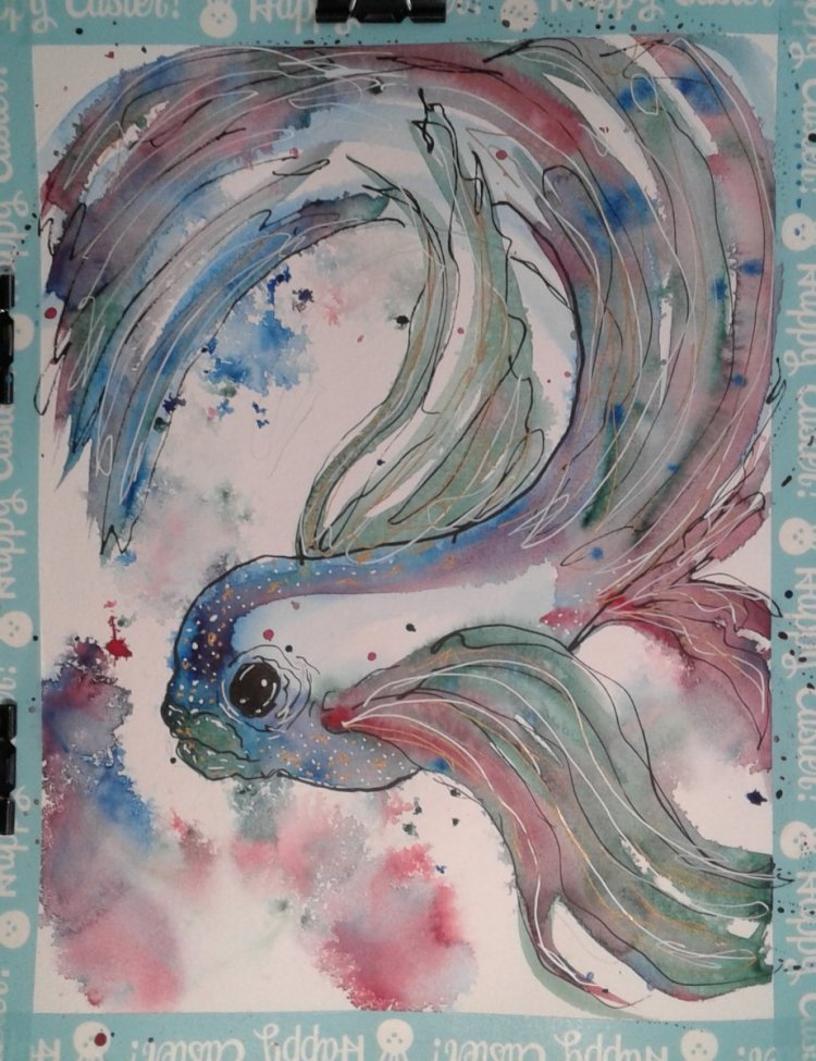 Swirly fins… I had already seen Charlie's fantasy fish duo before I sat down to paint my