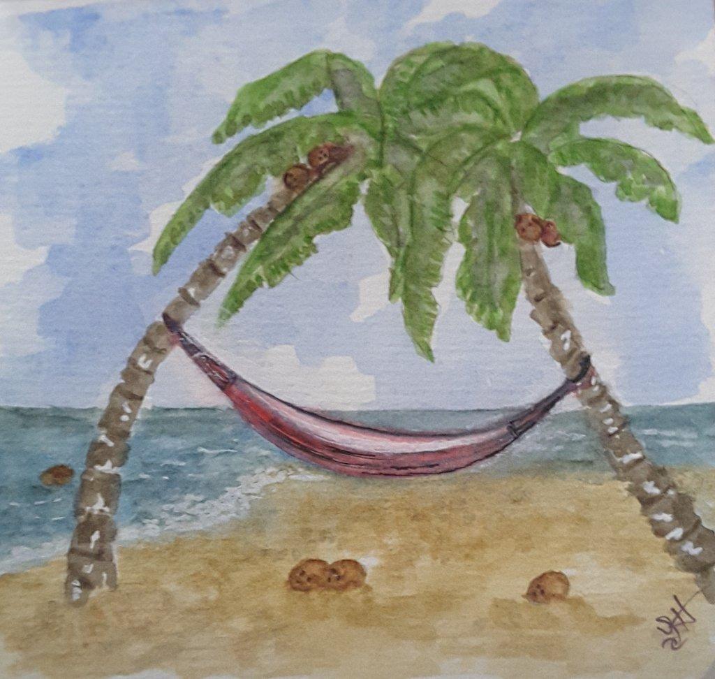 "#WorldWatercolorGroup Feb 2019 Challenge ""Coconuts"" 20190219_132354"