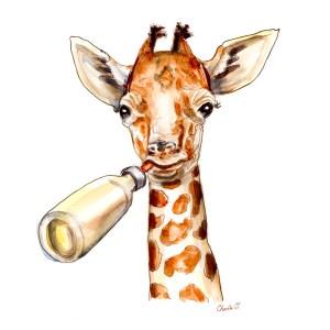 Baby Giraffe Watercolor Detail