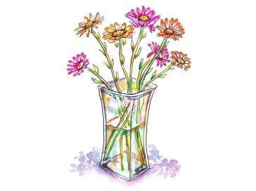 Day 28 - Gerbera Daisies Watercolor - Doodlewash