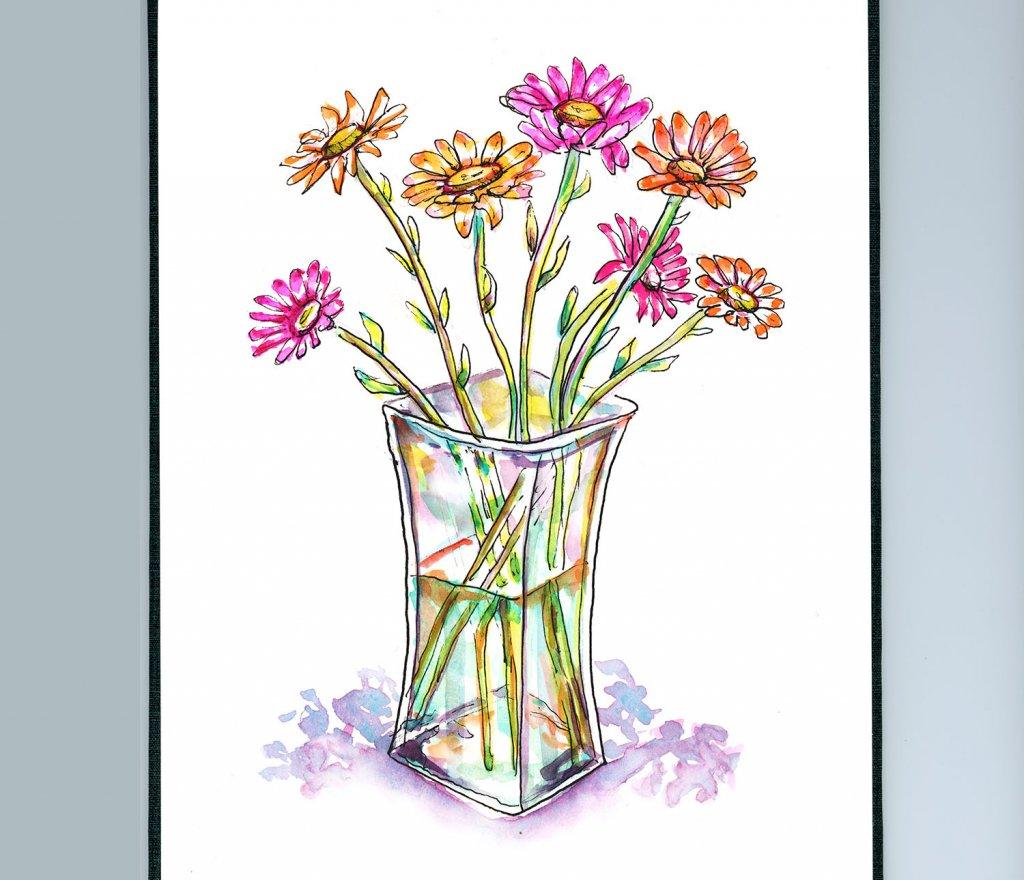Gerbera Daisies Watercolor - Doodlewash