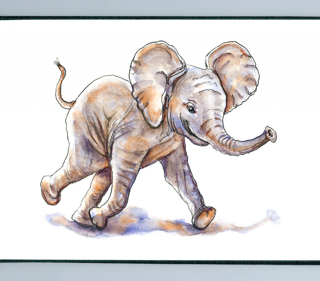 Day 7 - Baby Elephant Watercolor Art Of Joy - Sketchbook Detail