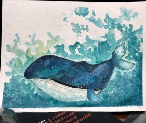 Tried a galaxy whale. I'm new to watercolor and basically teaching myself so don't laugh!! EF66F