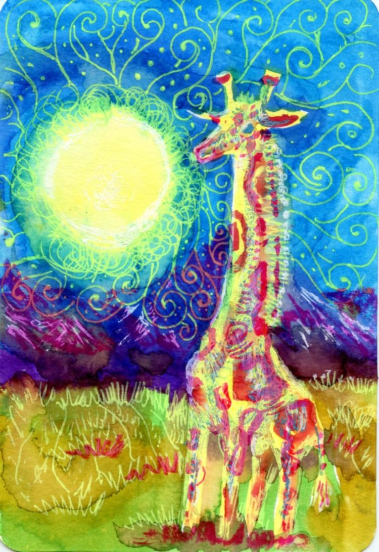 Hot Summer Night with Giraffe-Ecoline Watercolor Brush Pen & gel pens on Hahnemühle CP watercol