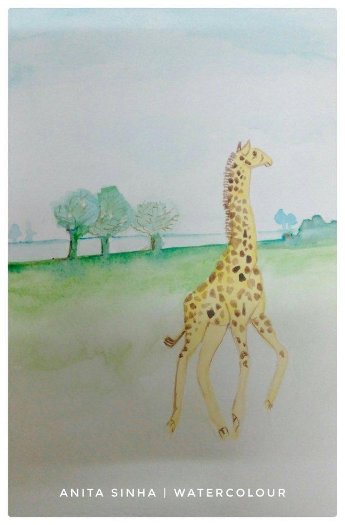 Day 16 – Giraffe. #doodlewashFebruary2019 #WorldWatercolorGroup #anitasinhaastrologer IMG_2018