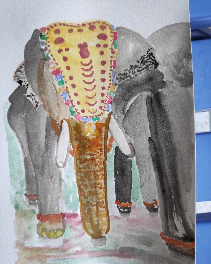 #day7 #elephant I met these elephants with ornamental head gear in Kerala, India. I wanted to pat th