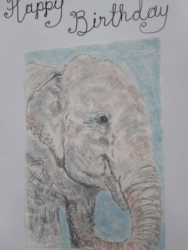 Day 7 Elephant. This paper is made from rags from India. #doodlewashFebruary2019 WorldWatercolourGro