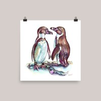 Two Penguins In Love Watercolor Print