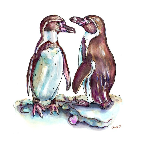 Two Penguins In Love Watercolor Print Detail