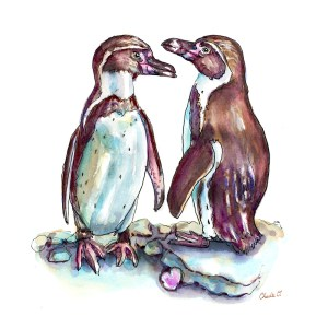 Two Penguins In Love Watercolor Print Detail