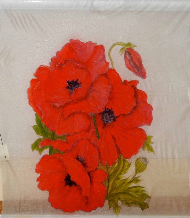 World WatercoloUr Group™ POPPIES GONGBI STYLE ON CHINESE SILK POPPIES ON SILSK CHINESE GONGBI