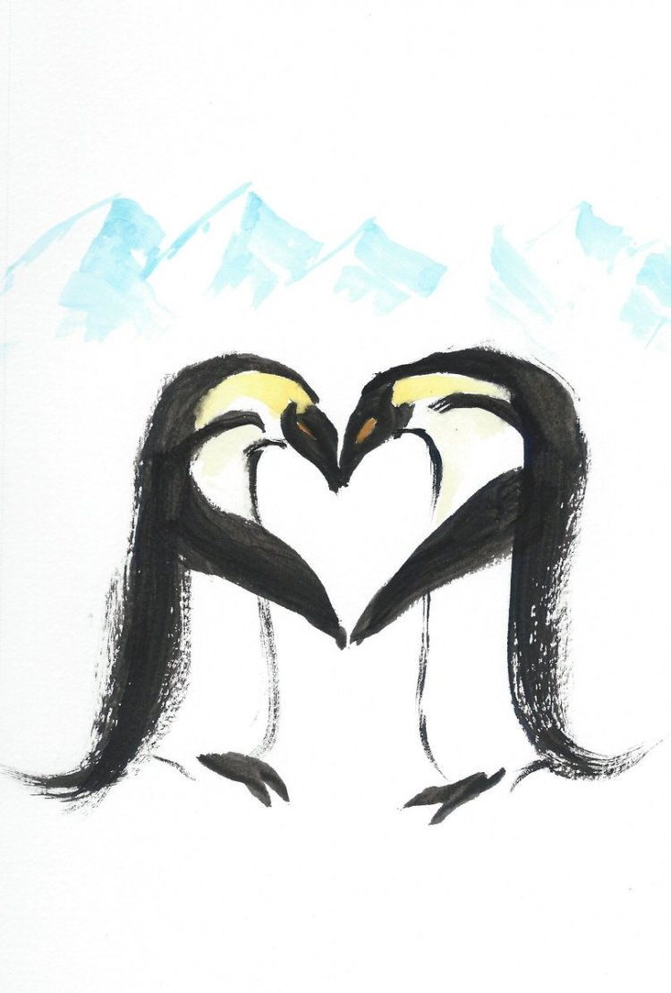 Happy Valentine's Day! #doodlewashFebruary2019 Day 14: Penguin #worldwatercolorgroup Penguin L