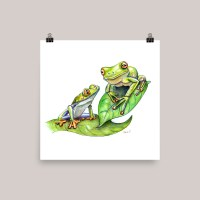 Two Frogs Mother Child Watercolor Print