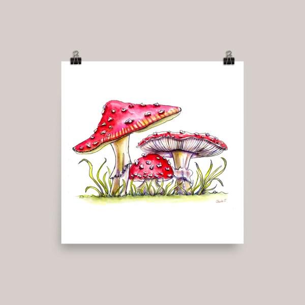 Storybook Mushrooms Watercolor Print Fly Agaric