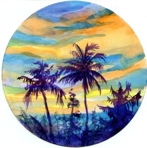 Prompt #Palm Tree I had a plan for a nice soft sunset, but this paper really likes hard edges. Oh we