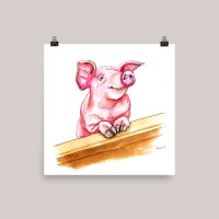Pig Watercolor Print