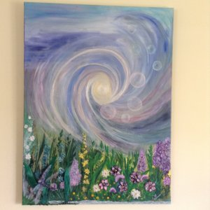 """Large acrylic painting, """"A new world"""" The bubbles are the thoughts of humanity, when tho"""