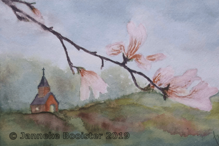 Another springtime fantasy with the little chapel in the background. The flowers are the blossoms of