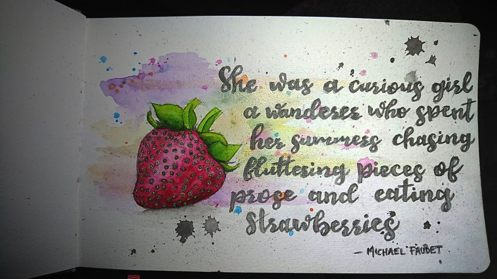 Strawberries and prose…. – Watercolour & pen lines 55798285_10218584241783059_156837