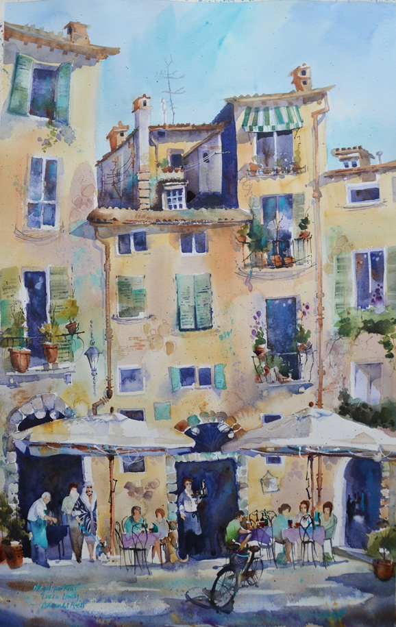 """""""illegal Parking"""" a studio painting of one of my favourite spots in Lucca Italy Amanda B"""