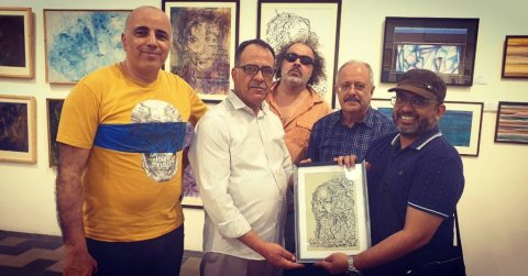 Art show at Prince of Wales museum Mumbai and presenting an artwork to the Ministry of Tunisia and E