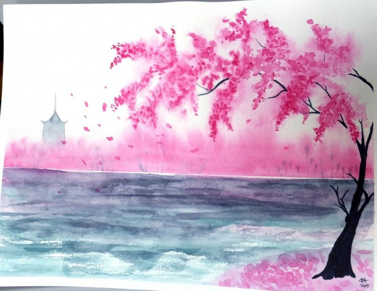 1st attempt following tutorial by Irina Trzksaos on Skillshare. W&N pro watercolors DSCF1770 &#8