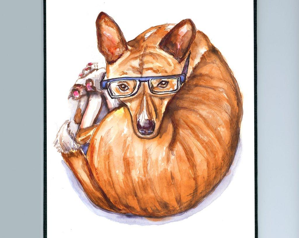 Phineas Basenji Watercolor Glasses - Doodlewash