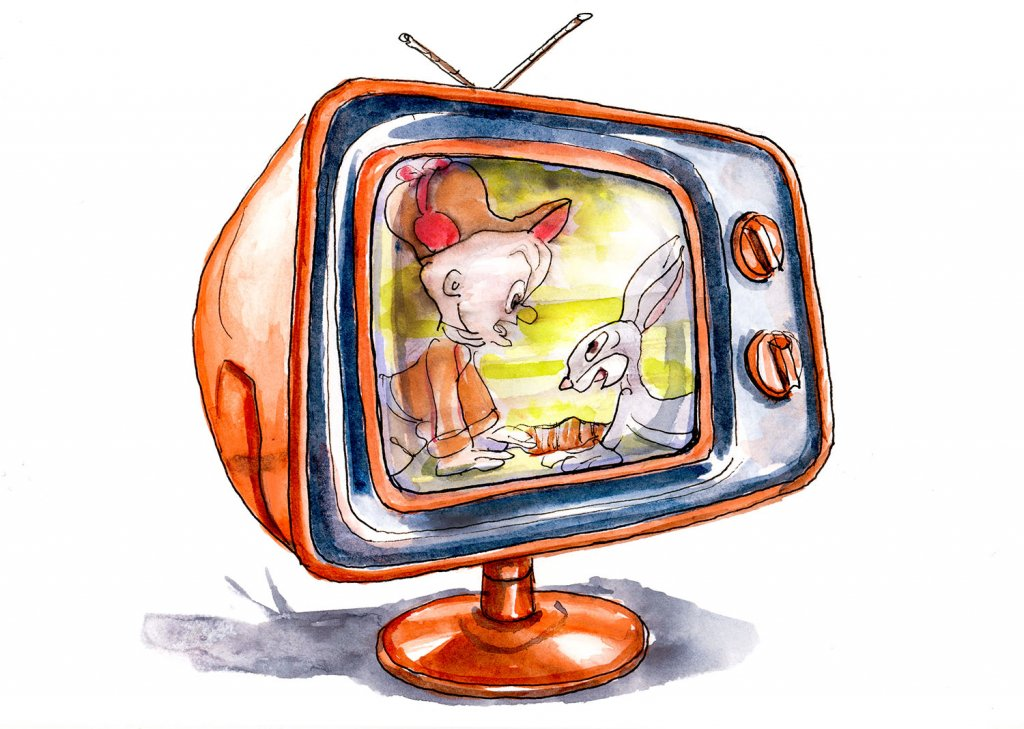 Classic Bugs Bunny Television Set Watercolor - Doodlewash