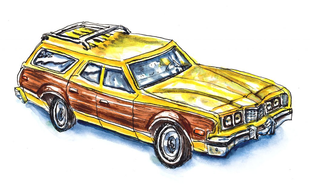 Day 16 - Wood Paneled Station Wagon Illustration - Doodlewash