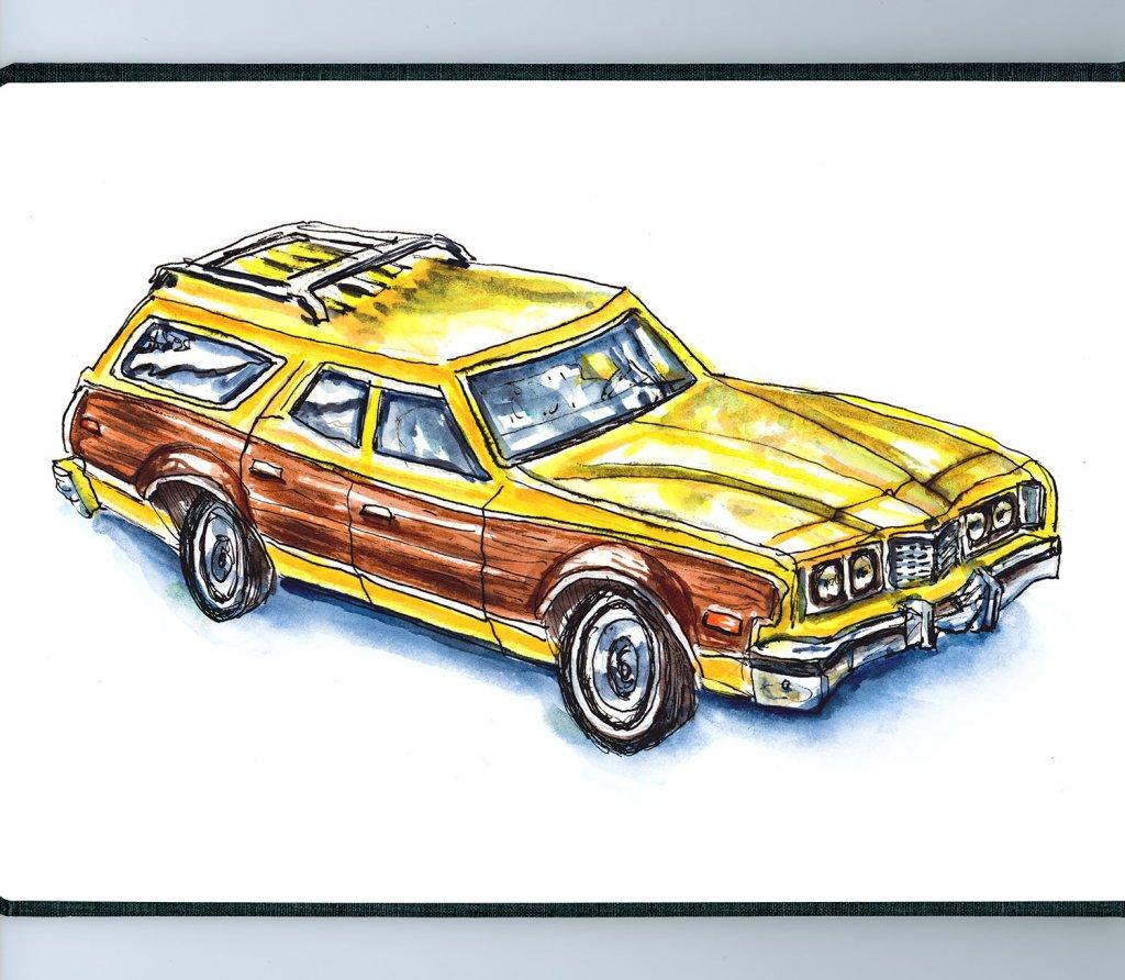 Wood Paneled Station Wagon Illustration - Doodlewash