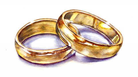 Day 18 - Wedding Rings Watercolor Gold - Doodlewash