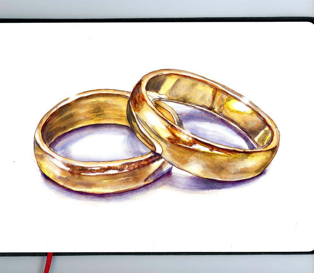 Wedding Rings Watercolor Gold - Sketchbook - Doodlewash