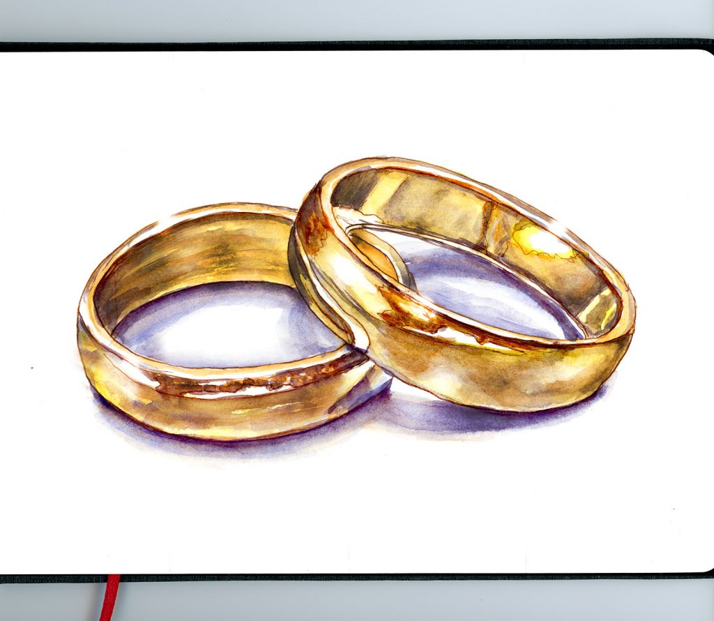 Wedding Rings Watercolor Gold - Sketchbook - Doodlewash