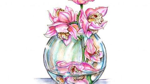 Day 19 - Pink Orchids In Vase Watercolor Illustration - Doodlewash