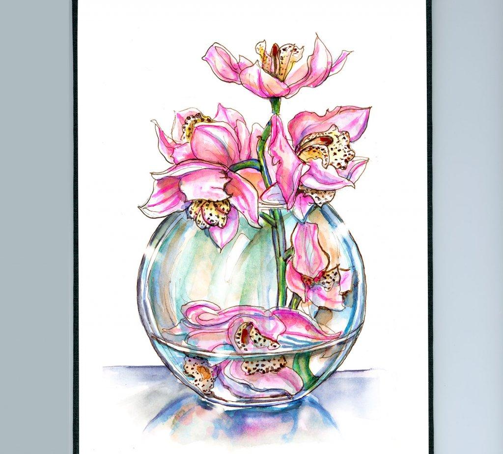 Pink Orchids In Vase Watercolor Illustration - Doodlewash