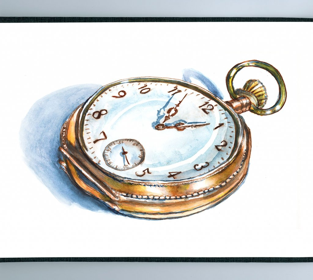 Pocket Watch Illustration Watercolor - Doodlewash