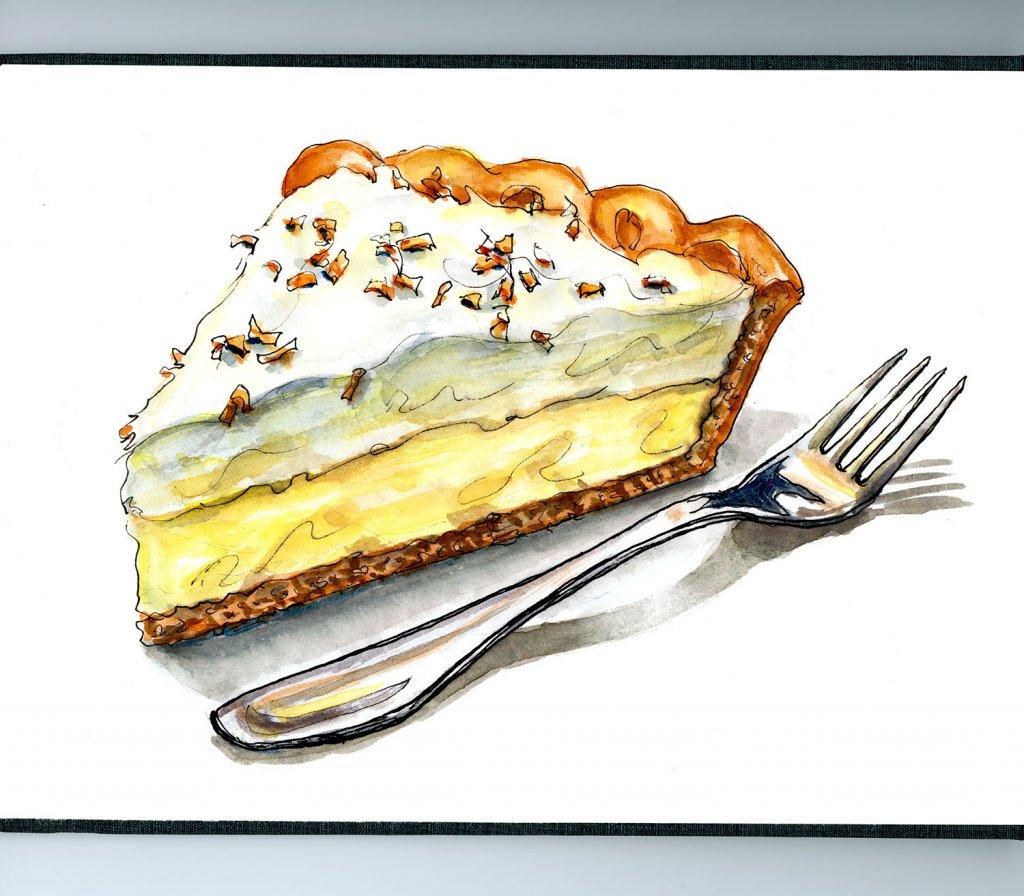 Coconut Cream Pie Illustration Watercolor - Doodlewash