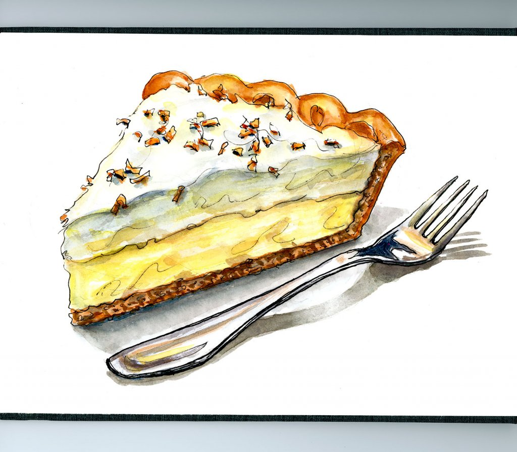 Coconut Cream Pie Illustration Watercolor - Doodlewash