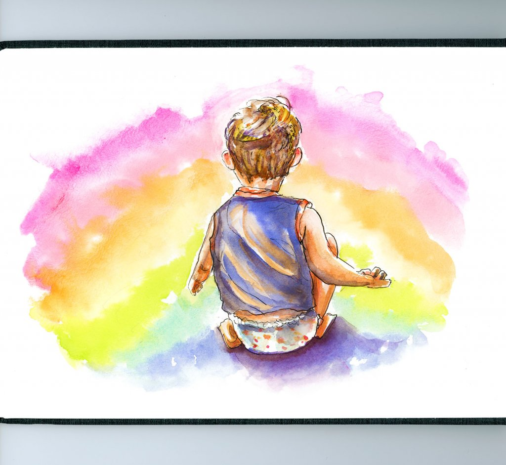 Little Boy Rainbow Illustration - Doodlewash