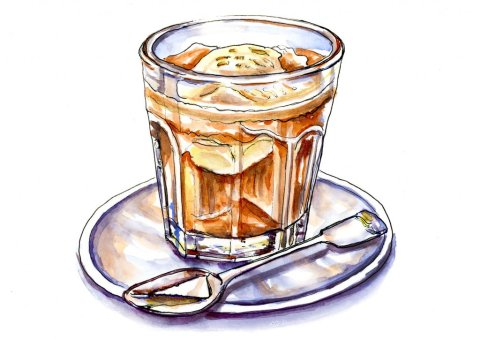 Day 5 - Affogato Watercolor Illustration Coffee Glass - Doodlewash