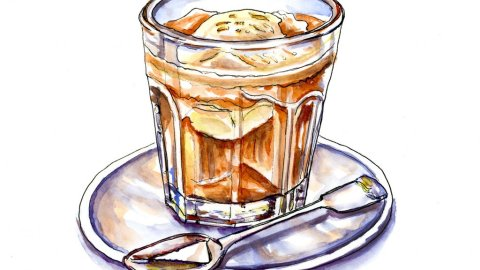 Day 5 - Affogato Watercolor Illustration Coffee Glass - Doodlewash