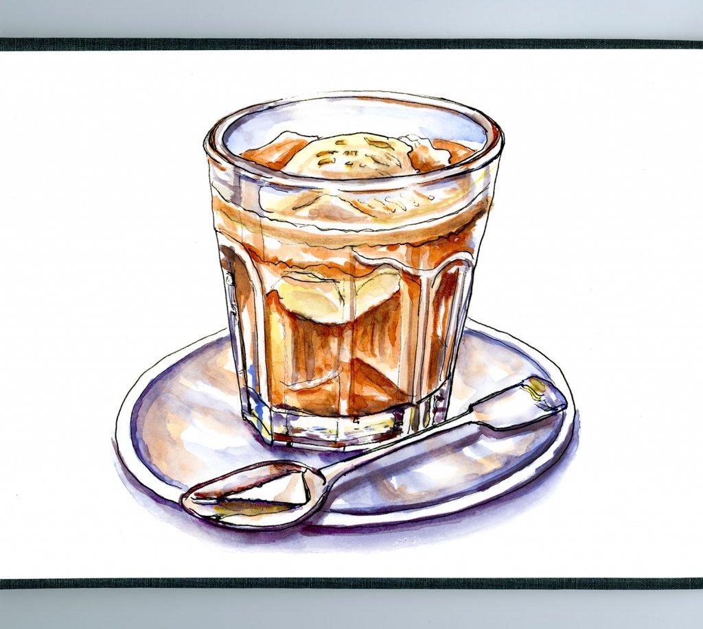 Affogato Watercolor Illustration Coffee Glass - Doodlewash