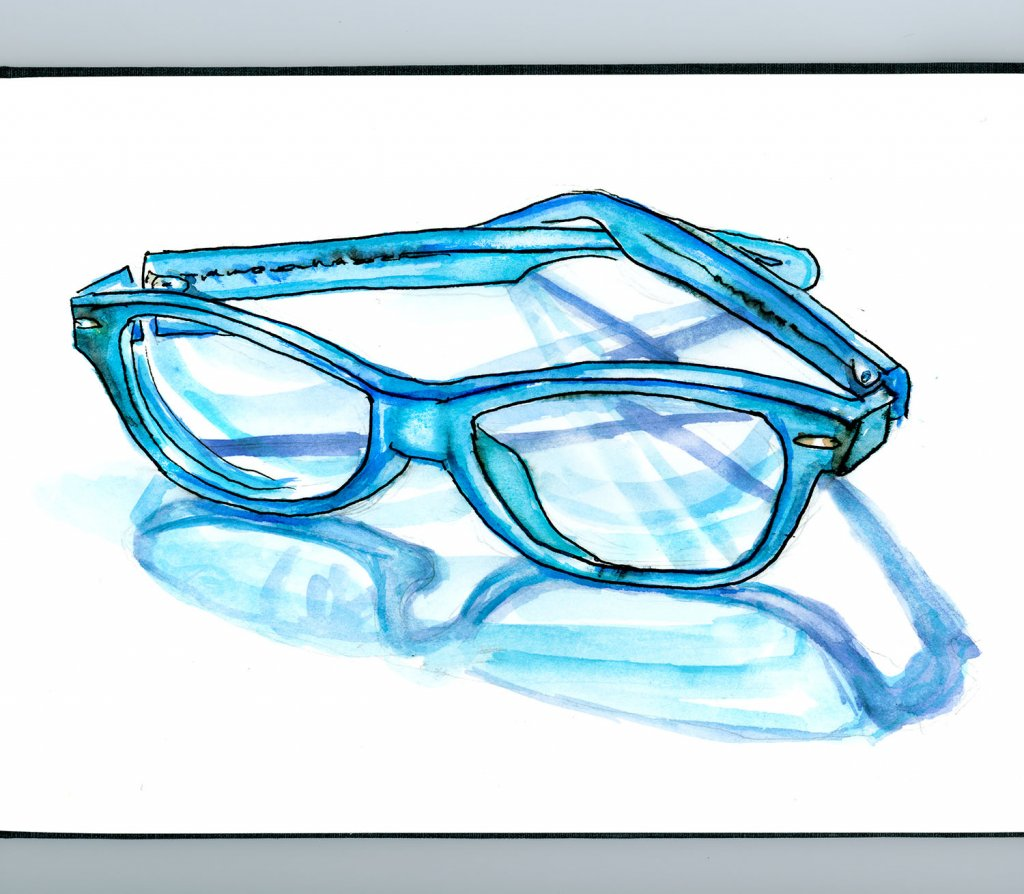 Eyeglasses Watercolor Blue - Doodlewash