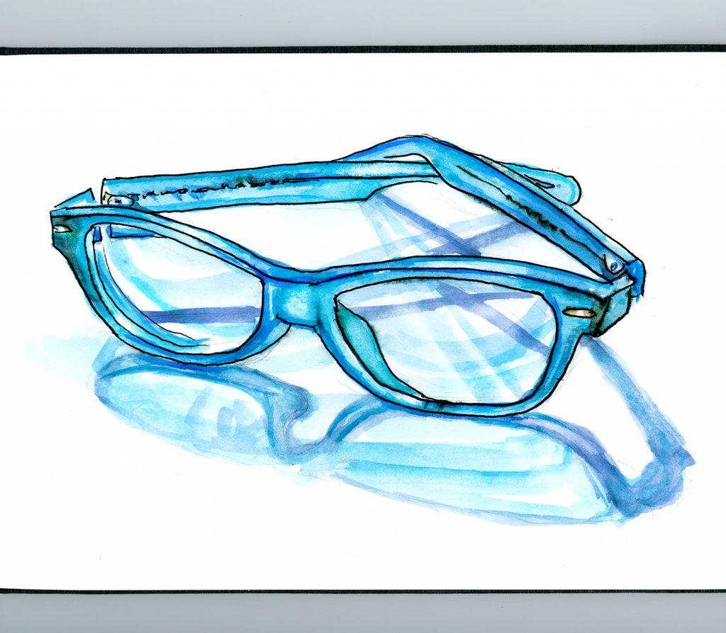Eyeglasses Watercolor Blue - Doodlewash
