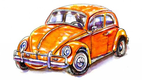 Day 7- Volkswagen Bug Illustration Watercolor - Doodlewash
